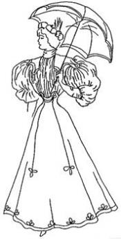 Click to enlarge image 1895 Gored Skirt, Bodice with puffed sleeves - Pattern 22