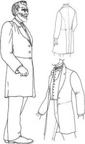 Click to enlarge image 1850's Frock Coat with Trowsers, Shirt and Vest - Pattern 38