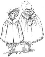 Click to enlarge image 1854 Cloak & Bonnet that fits American Girl Dolls - Pattern 56